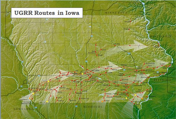 UGRR in Iowa map - Iowa Hertiage Illustrated Summer 2009 pg 64-65