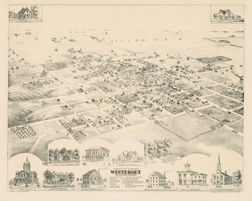 1869 Winterset Birds Eye View - View only do not reduce