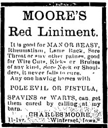 Moore - Red liniment ad June 24 1887 Winterset Madisonian and Chronicle